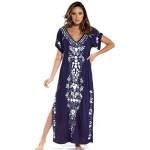 Beach Cover Up Embroidered Long Robe Seaside Holiday Long Dress Sun Protective Clothing Women Swimwear Beach Cover Up Long Robe