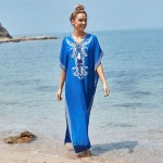 Blue Embroidered Long Robe Sun Protective Beach Wear Beach Cover Up Seaside Holiday Long Dress One Piece Dress Women