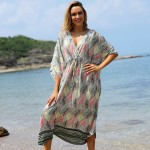Leaf Long Dress Loose Beach Holiday Sun Protective Long Dress Bikini Beach Cover Up Swimwear