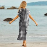 Black White Flower Stripe Beach Cover Up Swimwear Beach Cover Up Holiday Sun Protective Clothing One Piece Dress