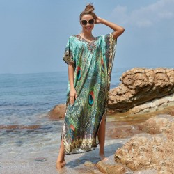Quick Drying Printing Peacock Feather Beach Long Dress Loose Plus Size Long Robe Holiday Dress Bikini Beach Cover Up
