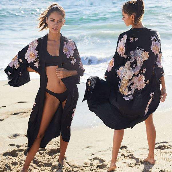 Beach Cardigan Bikini Beach Cover Up Swimwear Sun Protective Clothing Women Seaside Holiday Long Dress