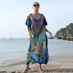 Printing Beach Cover Up Holiday Long Dress Seaside Swimwear Bikini Long Robe
