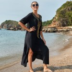 Black Embroidered Loose Plus Size Beach Dress Long Robe Seaside Holiday Bikini Beach Cover Up Women Sun Protective Clothing