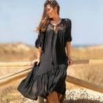 Black Chiffon Lace Bikini Beach Cover Up Seaside Holiday Long Dress Beach Sun Protective Swimwear Women