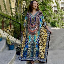 Blue Yellow Leopard Print Long Robe Loose Holiday Long Dress Seaside Beach Cover Up Swimwear Bikini