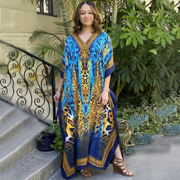 Blue Leopard Print Long Dress Loose Plus Size Long Robe Holiday Dress Bikini Swimwear Beach Cover Up Women
