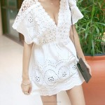 Crochet Hollow Out One Piece Dress Seaside Holiday Beach Dress Bikini Beach Cover Up Women
