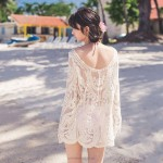 Seaside Holiday Long Sleeves Crochet Beach Wear Bikini Beach Cover Up Swimwear Women
