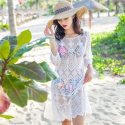 Long Loose Bikini Beach Cover Up Holiday Beach Wear Knitted Long Sleeves Sun Protective Clothing Women