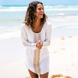Seaside Holiday Embroidered Bikini Beach Cover Up Beach Wear Sun Protective Clothing Women Robe