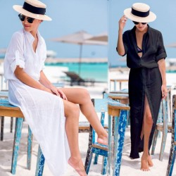 Chiffon Breathable Holiday Beach Dress Long One Piece Dress Beach Sun Protective Beach Cover Up