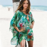 Chiffon Green Flower Loose Beach Sun Protective Clothing Bikini Beach Cover Up Swimwear Robe Women