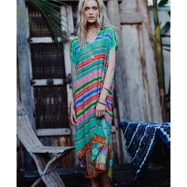 Green Red Stripe Printing Split Beach Wear Sun Protective Clothing Bikini Swimwear Beach Cover Up Long Robe