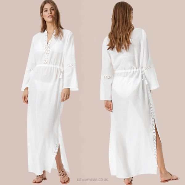 Lacework Stand Up Collar Long Sleeves Beach Wear Beach Cover Up Seaside Holiday Long Dress Women Sun Protective