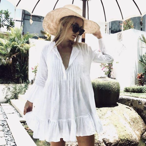 Ruffle Button Trumpet Sleeves Loose Plus Size Sun Protective Clothing Beach Wear Swimwear Beach Cover Up Short Skirt