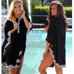 Bat Sleeve Black Embroidered Seaside Beach Wear Swimwear Beach Cover Up Bikini Sun Protective Clothing