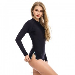 Long Sleeves Boxer One Piece Black Zipper Women Swimwear Pure Colour Swimsuits Sport Professional Race