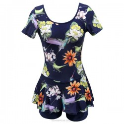 Swimsuits For Big Girls Plus Size Skinny Printing One Piece Boxer Dress Women Swimwear