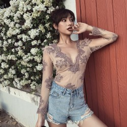 Embroidery Lace Tulle Skinny One Piece Ins Swimwear Women
