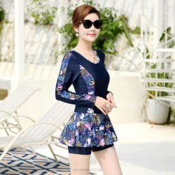 Swimsuits For Big Girls Plus Size Long Sleeves Sport Floral Boxer Dress One Piece Women Swimwear
