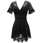 Swimsuits For Big Girls Plus Size Swimsuits Black Steel Ring Dress One Piece Boxer Lace Hollow Out Half Sleeves Women Swimwear