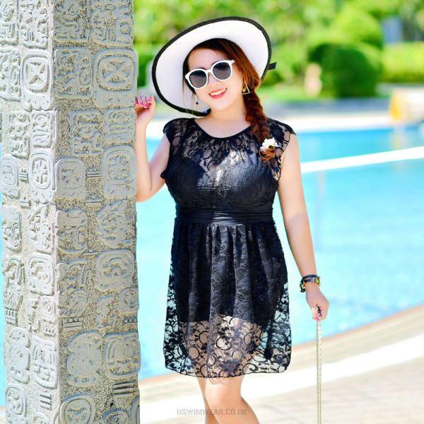 Women Swimsuits Sexy Steel Ring Push Up Lace Plus Size Swimsuits For Big Girls One Piece Boxer Swimwear