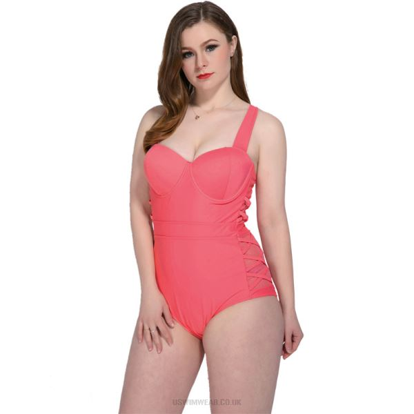 Plus Size One Piece Swimwear Women Steel Ring Push Up Skinny Pure Colour Swimsuits
