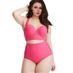 Fat Plus Size Swimsuits For Big Girls High Waist Two Piece Bikini Swimwear Women