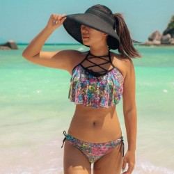 No Steel Ring Halter Lace Up Printing One Piece Bikini Women Swimwear