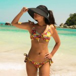 Lace Up Steel Ring Sexy Bikini Women Swimwear
