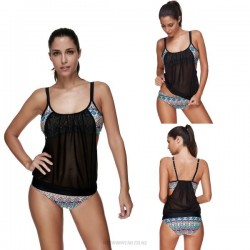 Printing Tulle Swimsuits Sport Two Piece Swimwear