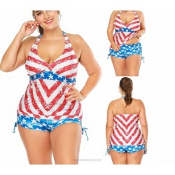Fat Lace Up Sport Printing Stripe Two Piece Swimwear