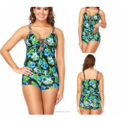Printing Plus Size Classical Printing Cover Belly Tankinis Two Piece Swimwear