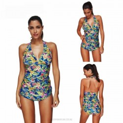 Printing Classical Printing Lace Up Two Piece Swimwear