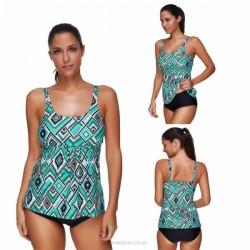 Printing Cover Belly Tankinis Two Piece Swimwear