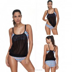 Printing Sport Hollow Out Two Piece Swimwear