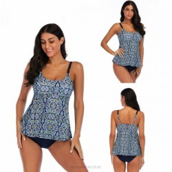 Printing Classical Cover Belly Tankinis Two Piece Swimwear