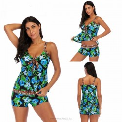 Printing Classical Printing Cover Belly Tankinis Two Piece Swimwear