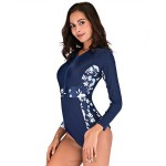Long Sleeves One Piece Swimwear Women With Bra Pad Swimwear Skinny Swimwear Womens
