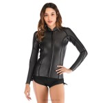 2Mm Diving Suit Womens Two Piece Long Sleeves Swimwear Womens Waterproof Winter Swimming Suits Diving Suit
