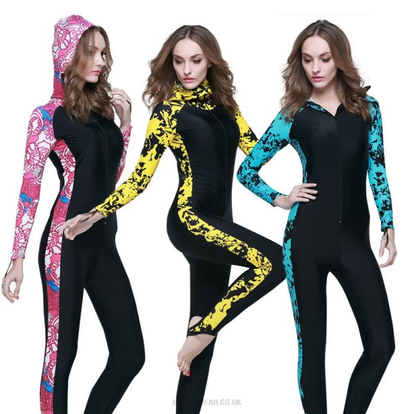 Couples One Piece Dive Skin Sun Protective Diving Suit Swimwear Long Sleeves With Hat Man Womens Snorkeling Suit 1009