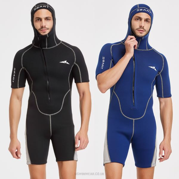 3Mm With Hat Diving Suit One Piece Short Sleeve With Hat Zipper Warm Sun Protective Swimwear