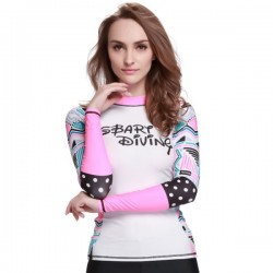 Womens Two Piece Swimsuits Crew Neck Long Sleeves Sun Protective Jellyfish Suit Printing Surfing Diving Suit