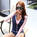 Jellyfish Suit Long Sleeves Zipper Top Push Up Two Piece Swimsuits