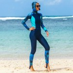 One Piece Swimwear Womens Skinny Printing Diving Suit With Hat Dive Skin Long Sleeves Surf Suit