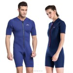 2Mm Diving Suit Womens Man Short Sleeve Sun Protective Swimwear One Piece Snorkeling Suit Warm Swimming