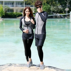 Two Piece Diving Suit Quick Drying Zipper Sun Protective Dive Skin Long Sleeves Swimwear Surf Suit Couples
