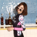 Womens Two Piece Swimwear Light Breathable Surf Suit Sun Protective Printing Long Sleeves Diving Suit