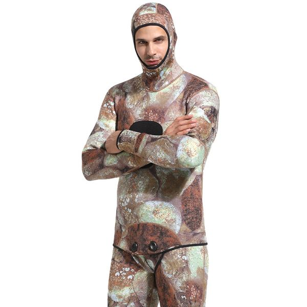 Professional Diving Suit 3Mm Man With Hat Long Sleeves Thicken Warm Swimwear Surf Suit
